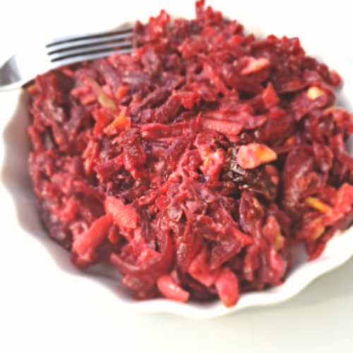 Beet Salad with Apples, Dried Fruits and Walnuts
