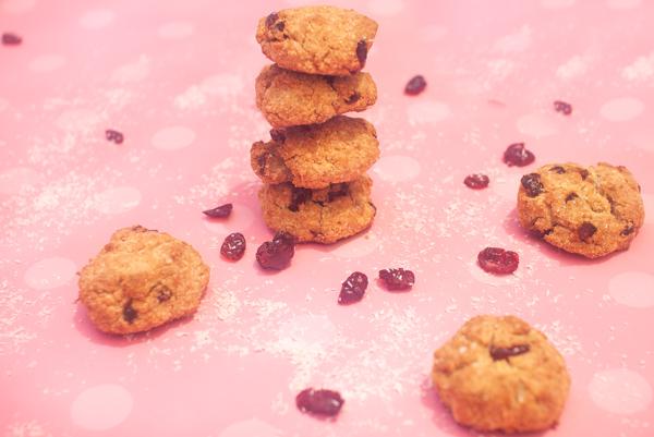 עוגיות מקמח קוקוס עם חמוציות